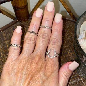 MACY'S Bundle of 4 Silver Tone & Rhinestone Rings
